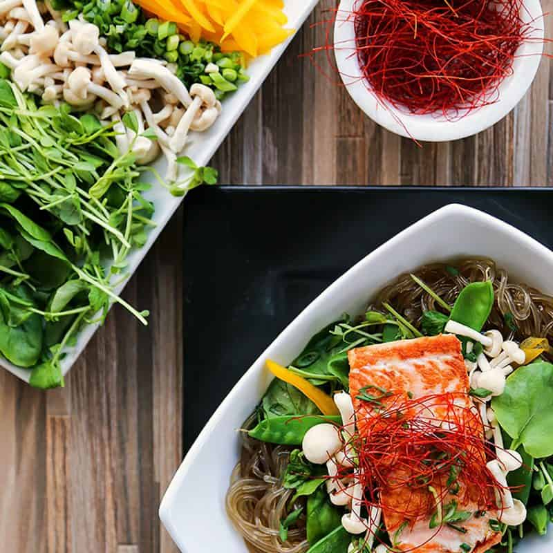 Salmon + Greens Asian Noodle Bowls from foodiewithfamily.com with glass noodles