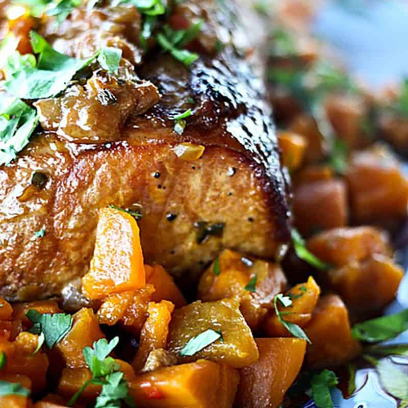 Slow Cooker Peach Salsa Pork Roast from foodiewithfamily.com