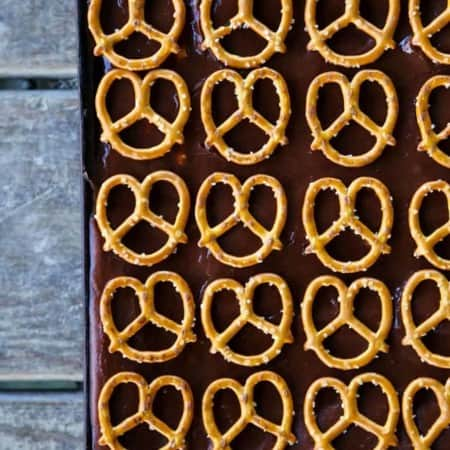 Chocolate Pretzel Sheet Cake from foodiewithfamily.com
