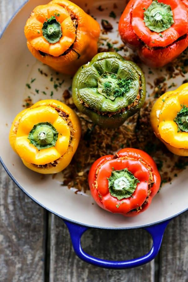Lightened Up Greek Style Stuffed Peppers from foodiewithfamily.com
