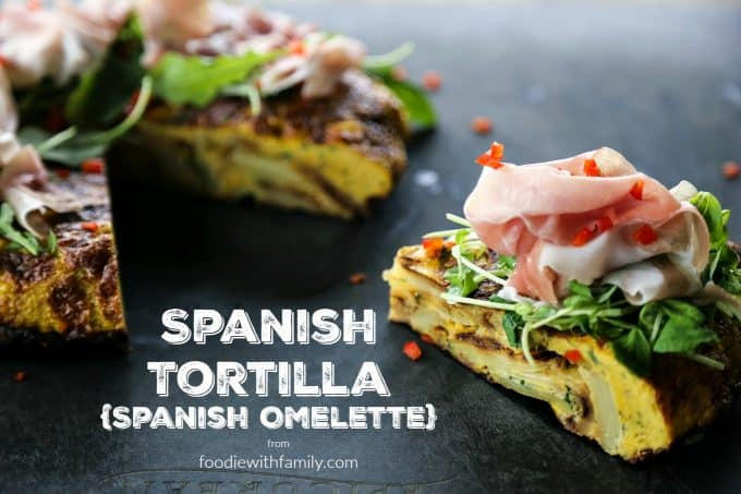 Spanish Tortilla or Spanish Omelette is filled with tender potatoes and onions.