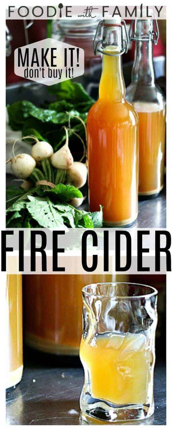 Fire Cider: call it a folk remedy, health tonic, or homeopathic remedy, but one thing is certain, and that is that it's delicious. Raw apple cider vinegar is infused with the health promoting ingredients ginger, garlic, onions, citrus fruit, horseradish, turmeric, and hot pepper, then mixed with raw honey to balance the tart spiciness of the vinegar. Whether you consume it as a daily health shot to help boost your immunities or mix into cocktails, you're going to love it!