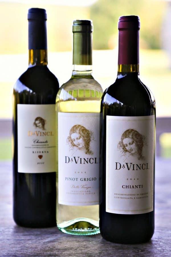 DaVinci Chianti, Pinot Grigio, and Chianti Riserva