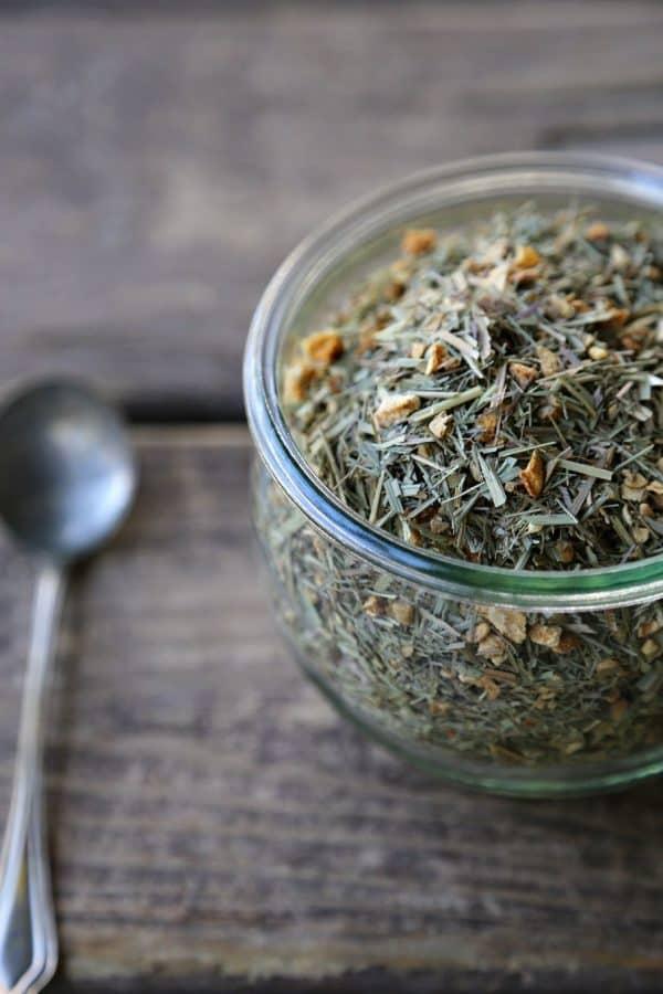 Tummy Tea Detox Herbal Tea Blend Lemongrass, Ginger, Lemon peel foodiewithfamily.com