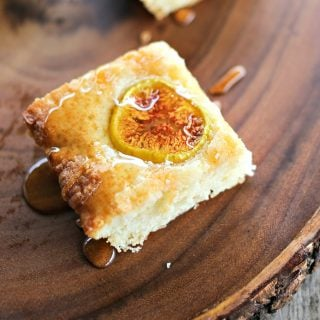 Simple buttery, vanilla Fig and Honey Snack Cake celebrates the brief glory of fresh figs!