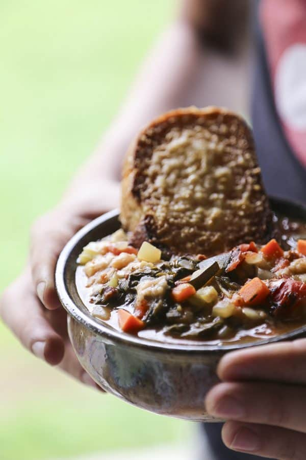 Ribollita Tuscan Vegetable Bean Soup foodiewithfamily.com