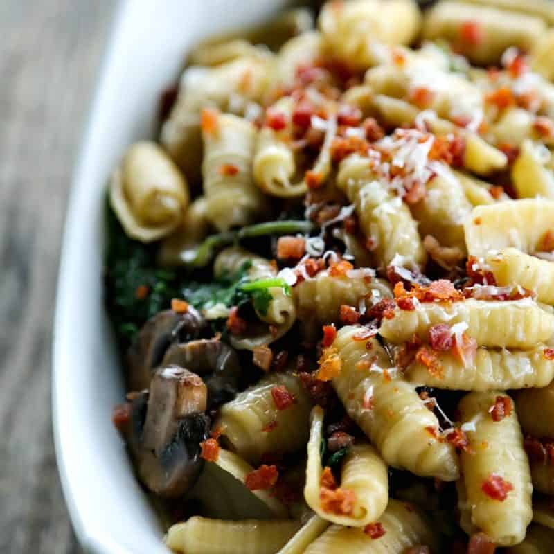 Simple Mushroom Kale Pasta with Pancetta from foodiewithfamily.com