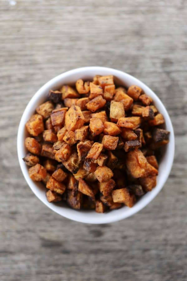 Sweet Potato Croutons made with Cranberry Dry Rub Spice Blend for poultry, venison, beef, pork, fish, and vegetables.
