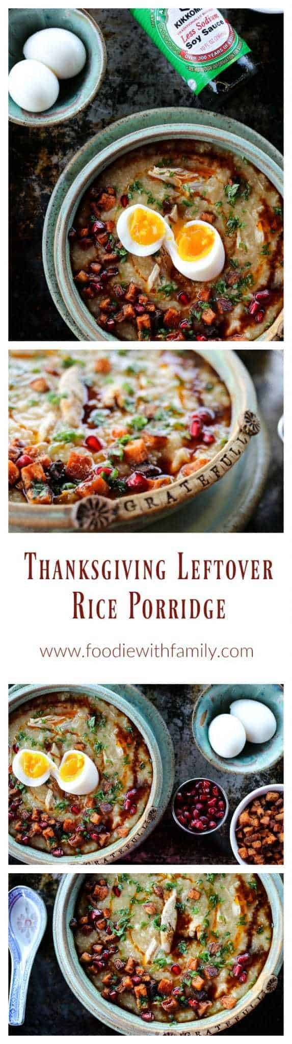 Leftover Thanksgiving Rice Porridge a.k.a. congee or juk is made with your picked over Thanksgiving turkey carcass, some water, some rice, and some soy sauce. It's magic.