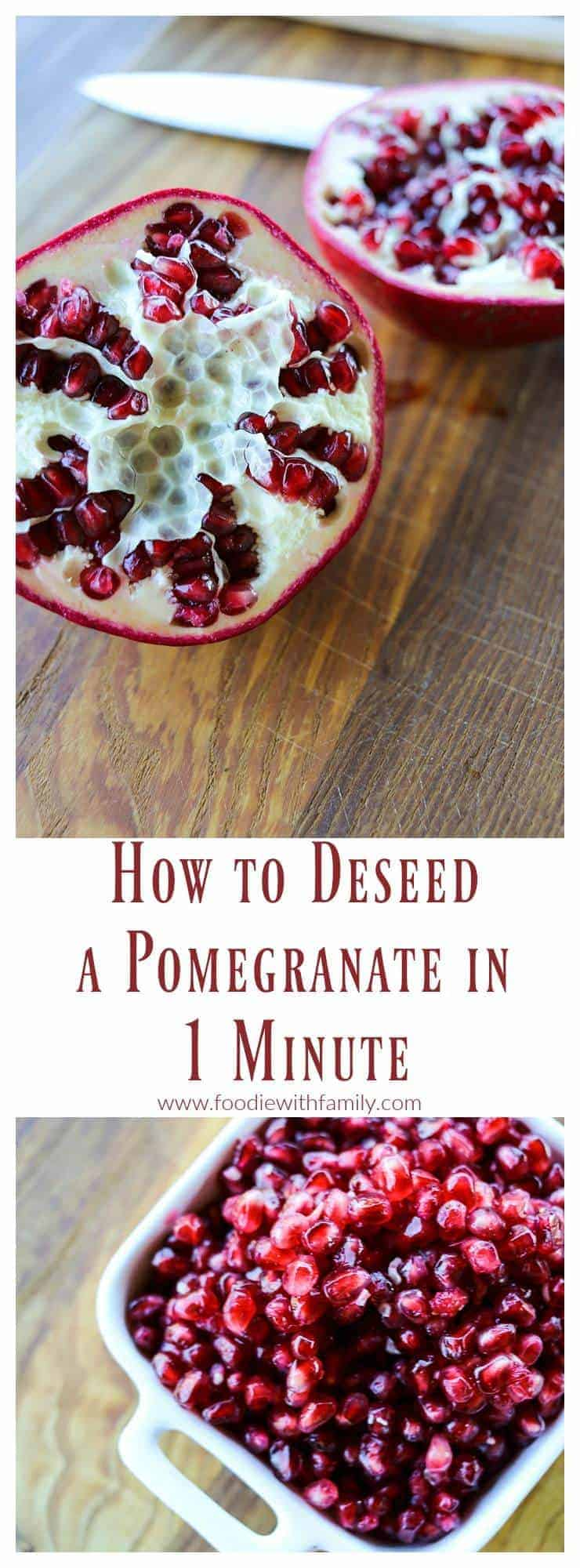 The easiest method by far; How to Deseed a Pomegranate in 1 Minute flat!
