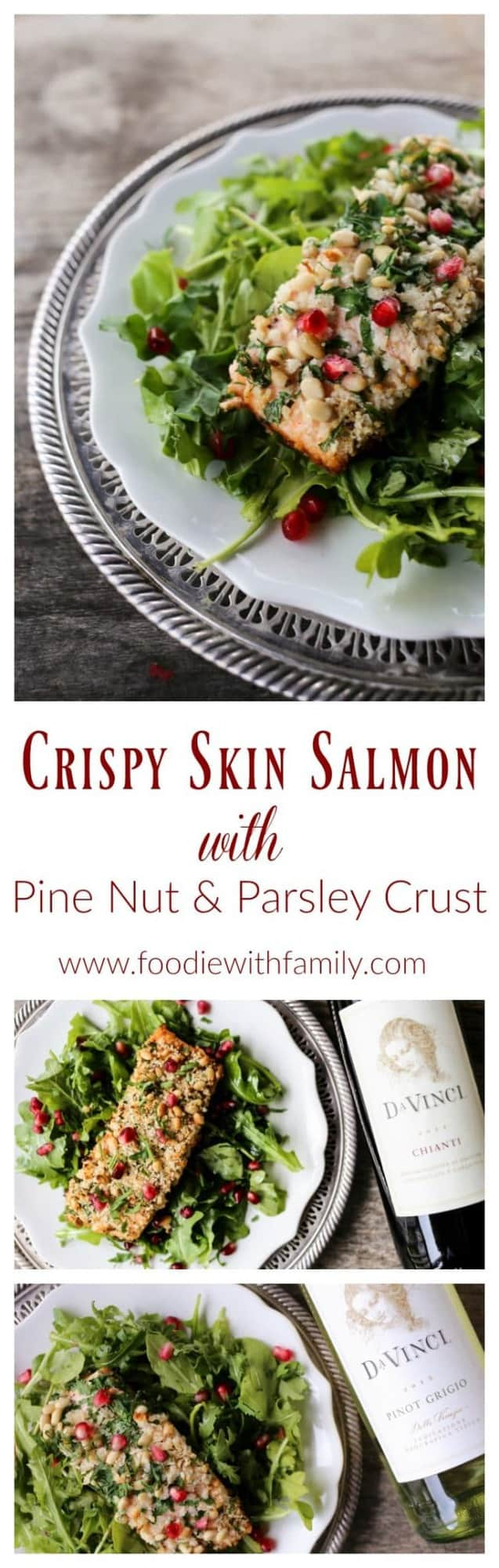 Crispy Skin Salmon with Pine Nuts and Parsley Crust is a beautiful, delicious, festive dish for any night, or as part of your Feast of the Seven Fishes. #sponsored