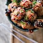 Fragrant, flavourful, ginger and hoisin flavoured baked Asian Turkey Meatballs from foodiewithfamily.com. Make a big batch to eat now and freeze for later!