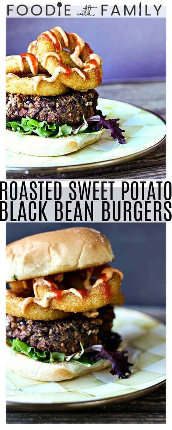 Roasted Sweet Potato Black Bean Burgers: Black Bean Burgers get an extra burst of flavour from tiny caramelized Roasted Sweet Potato Bits and delicious Smoked Paprika Chipotle Sauce. These are perfect for every day meals and game day!