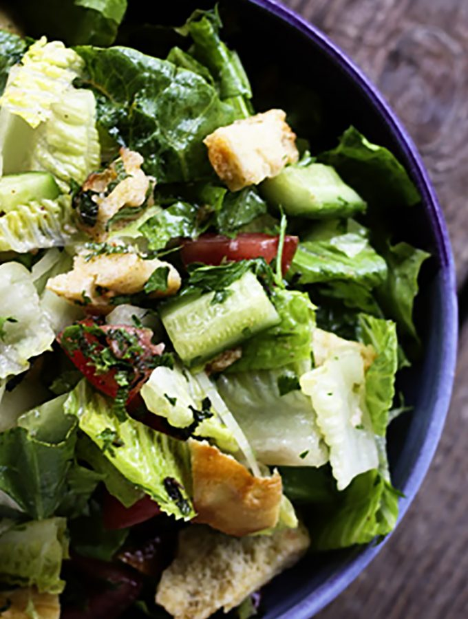 Fresh, garlicky, lemony Fattoush -Crumbled Pita Chip Salad: fresh enough to lift the winter doldrums or make your summer happy!