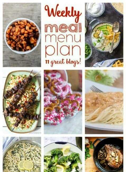 Easy Meal Plan Week 82: 11 great bloggers bringing you a full week of main dishes, side dishes and desserts.
