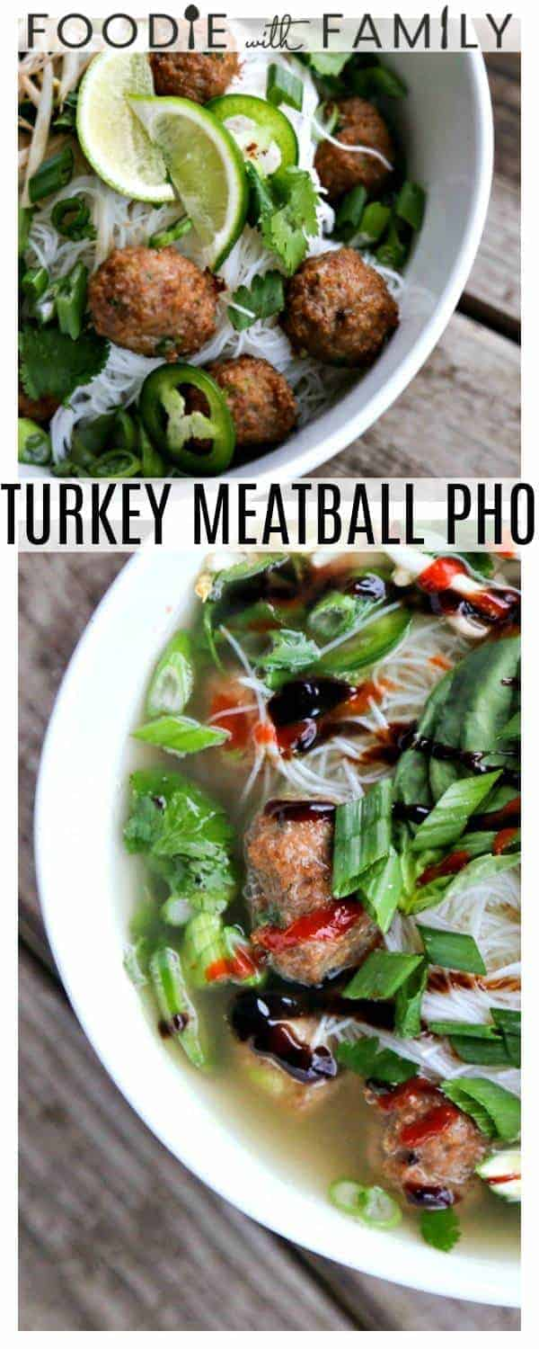 Turkey Meatball Pho with scads of herbs, green onions, bean sprouts, paper thin jalapenos, & lime wedges are perched on rice noodles in a aromatic broth.