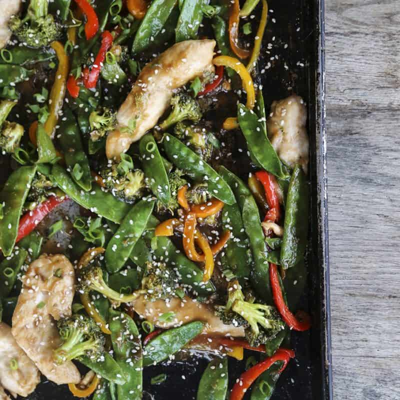 Asian Chicken Stir Fry Sheet Pan Meal