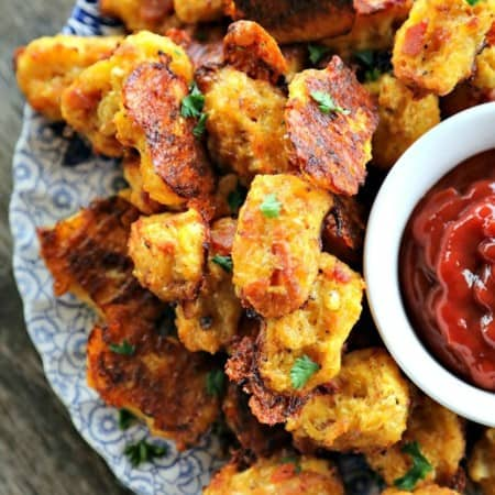 Bacon Cheddar Cauliflower Tots {Healthier Tater Tots}