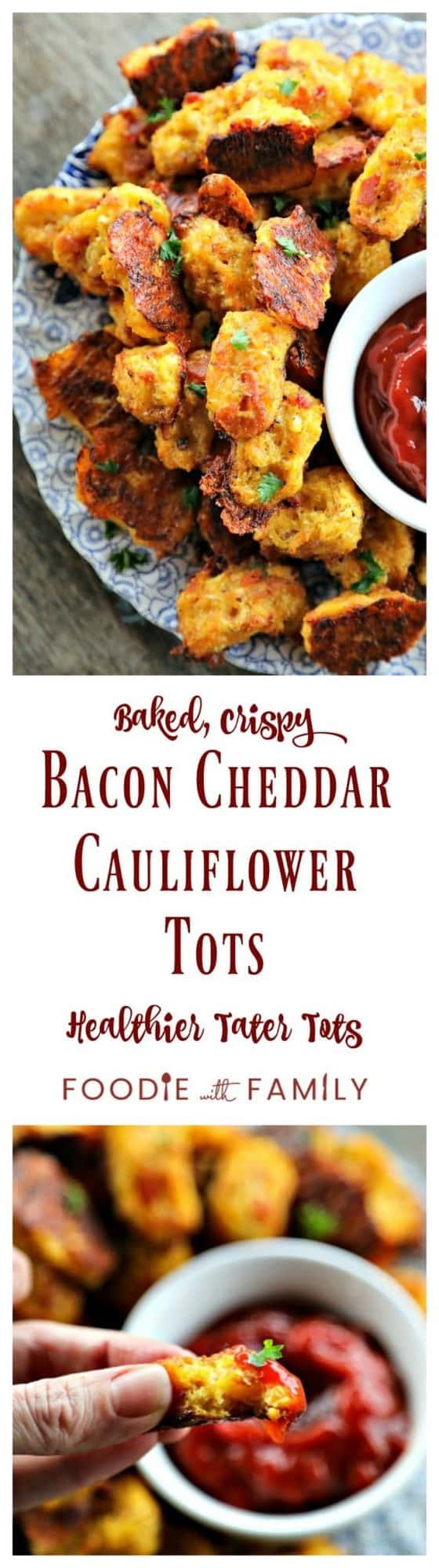 Baked, crispy, Bacon Cheddar Cauliflower Tots {Healthier Tater Tots} are the ultimate in crispy, cheesy perfection. You'd never know they're lower carb than tater tots and honestly, you'd be hard pressed to know they're NOT tater tots.