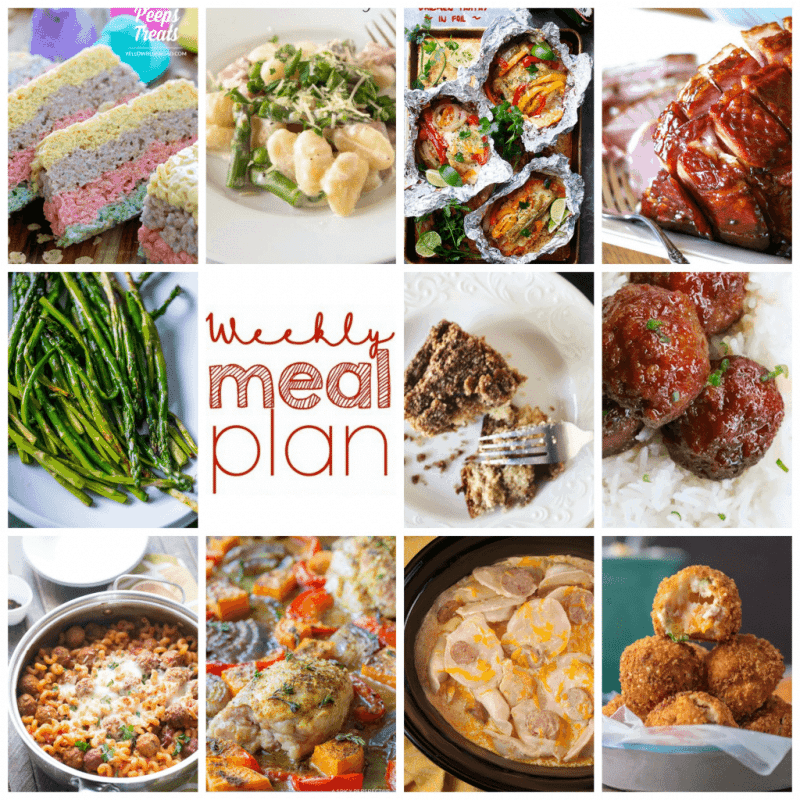 Easy Meal Plan Week 90- 11 great bloggers bringing you a week's worth of main dishes, side dishes, and desserts.
