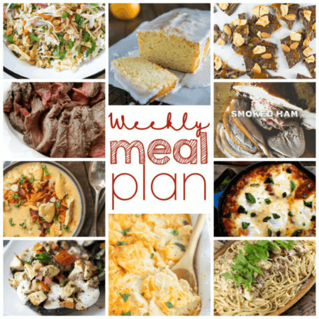 Easy Meal Plan Week 91- 11 great bloggers bringing you a week's worth of main dishes, side dishes, and desserts.