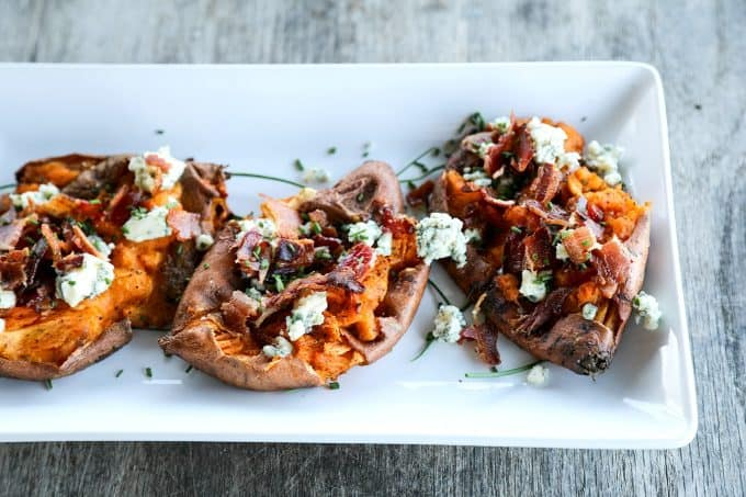 Crisp on the edges and tender at the center, these Smashed Sweet Potatoes with Bacon and Bleu Cheese are a simple but stunning side dish to accompany any grilled or roasted meat or a lovely light meal on their own.