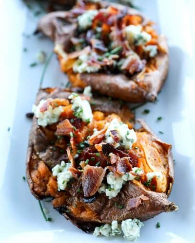 Smashed Sweet Potatoes with Bacon and Bleu Cheese