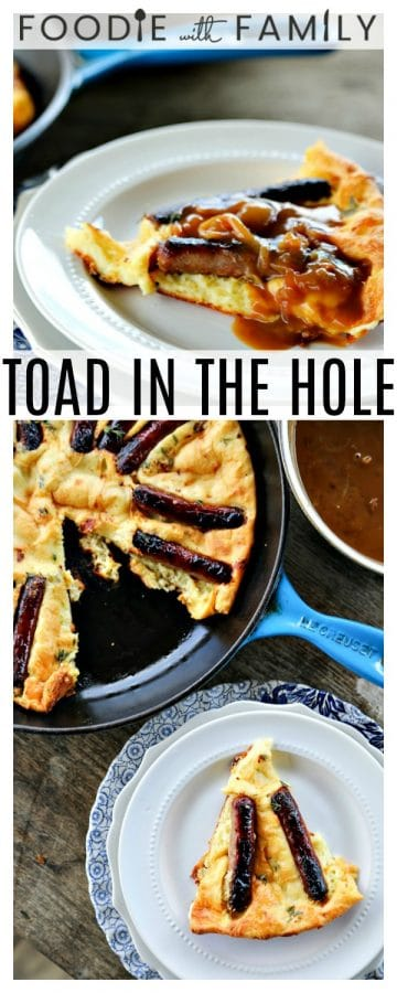 Toad in the Hole is a savoury, flavourful, thyme dotted, crisp-edged puff pancake cooked with roasted sausages & drippings with onion gravy spooned over.