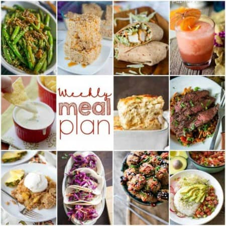 Easy Meal Plan Week 99- 10 great bloggers bringing you a week's worth of main dishes, side dishes, and desserts!