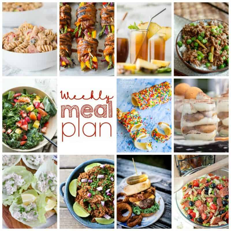 Easy Meal Plan Week 103- 10 top bloggers bringing you a week's worth of main dishes, side dishes, and desserts!