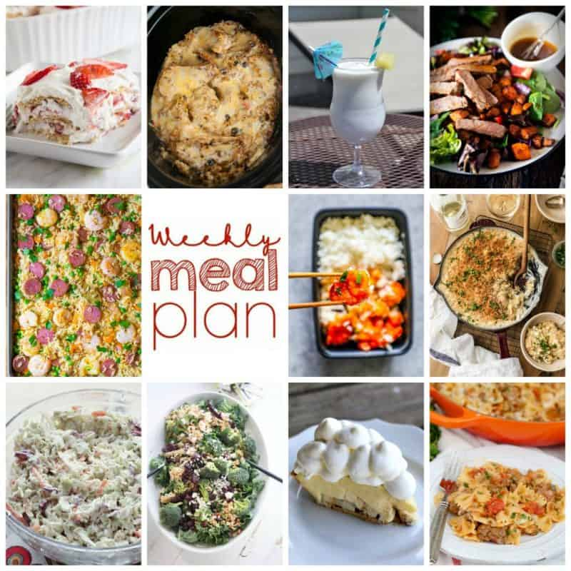Easy Meal Plan Week 102- 10 top bloggers bringing you a week's worth of main dishes, side dishes, beverages, and desserts!