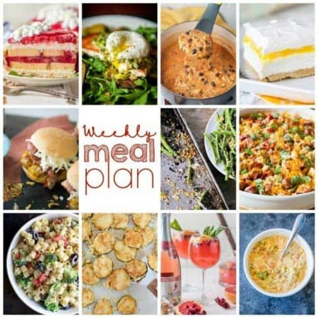 Easy Meal Plan Week 105: 10 Top Bloggers bringing you a week's worth of main dishes, side dishes, beverages, and desserts.
