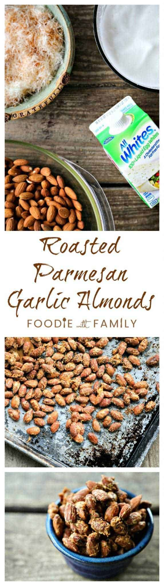 Roasted Parmesan Garlic Almonds: Super savoury, crunchy, crave-worthy, and nutritious to boot. That sounds like the perfect snack food to me!
