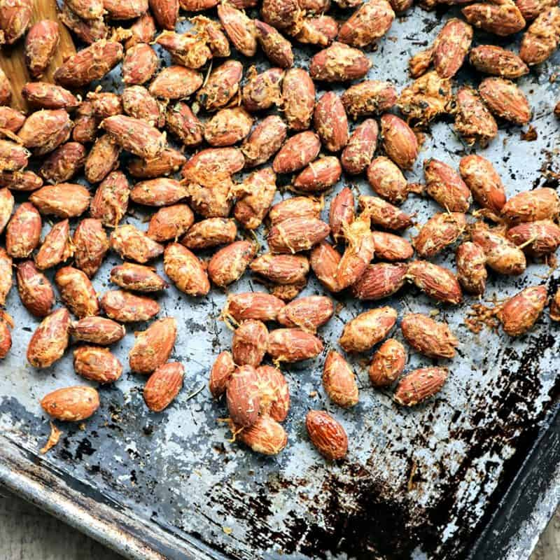 Roasted Parmesan Garlic Almonds