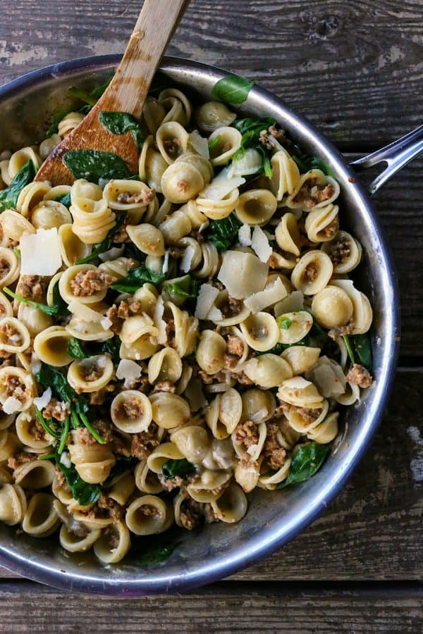 Creamy Spinach Sausage Pasta is a perfect, fast, weeknight meal that is good enough to serve to company.