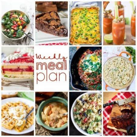 Easy Meal Plan Week 115- 10 great bloggers bringing you a week's worth of main dishes, side dishes, beverages, and desserts!