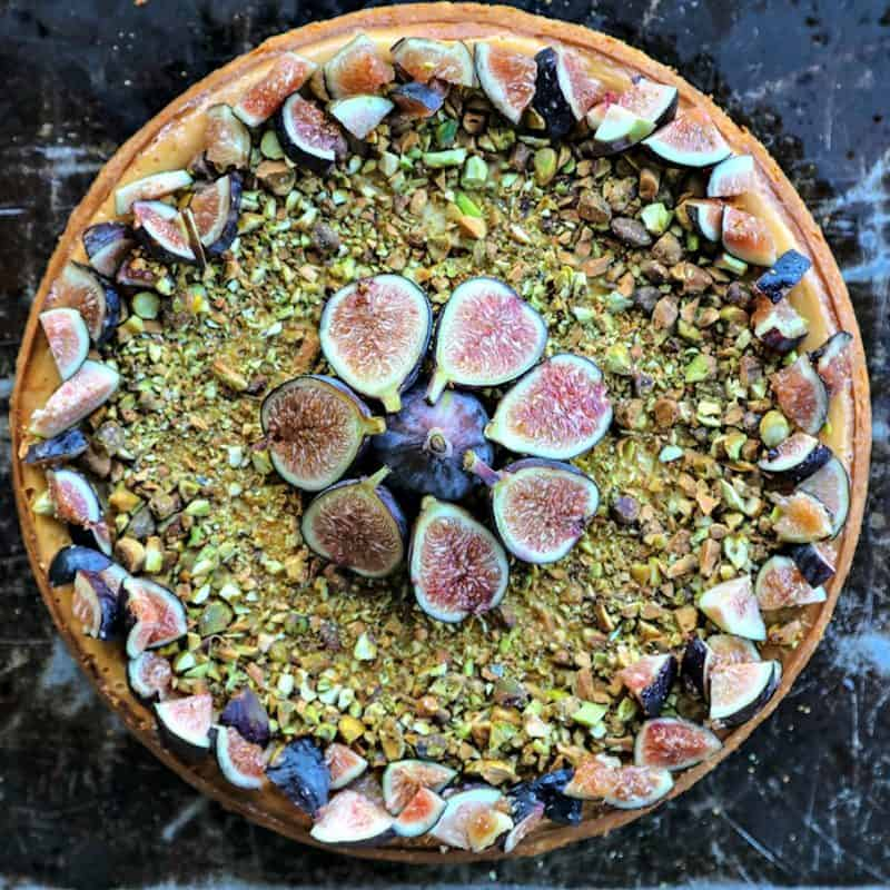 Fig Pistachio Honey Goat Cheese Cheesecake