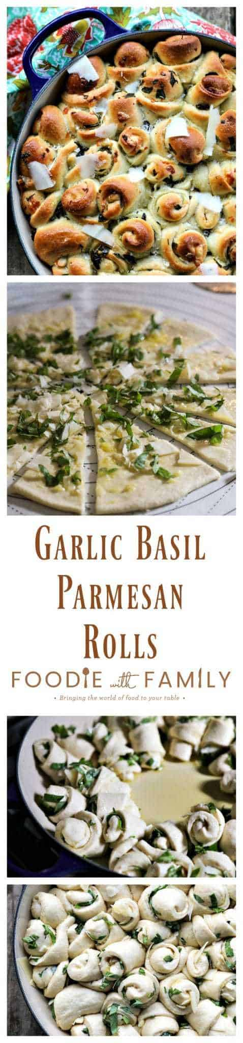 Garlic Basil Parmesan Rolls are my idea of a perfect bread. Perfect bread dough brushed with garlic infused olive oil and rolled around chopped garlic, fresh basil, and flakes of creamy, nutty Parmesan cheese then baked up to a beautiful, golden brown, tender-yet-chewy work of art.