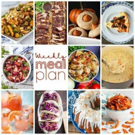 Easy Meal Plan Week 114- 10 great bloggers bringing you a week's worth of main dishes, side dishes, beverages, and desserts!