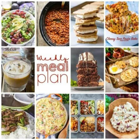 Easy Meal Plan Week 117- 10 great bloggers bringing you an entire week's worth of main dishes, side dishes, beverages, and desserts!