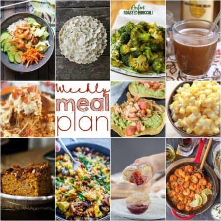 Easy Meal Plan Week 120- 10 top bloggers bringing you a week's worth of main sihes, side dishes, beverages, and desserts.