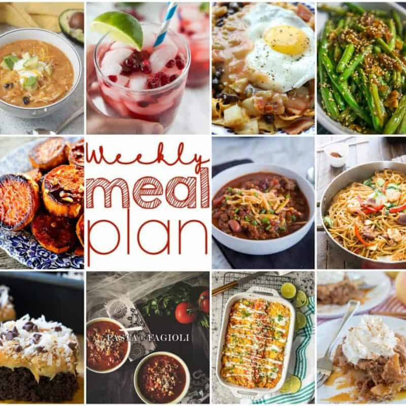 Easy Meal Plan Week 121: 10 Great bloggers bringing you a week's worth of main dishes, side dishes, beverages, and desserts.