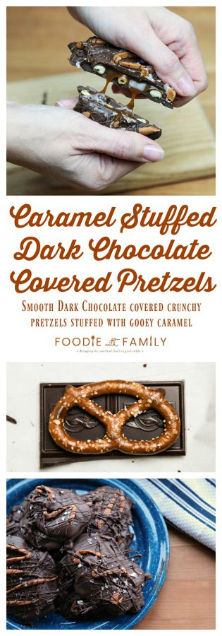 Chocolate Covered Caramel Stuffed Pretzels; crunchy sourdough pretzels enrobed in dark chocolate with a sprinkling of flaky sea salt that ooze perfectly gooey caramel when you bite into them.