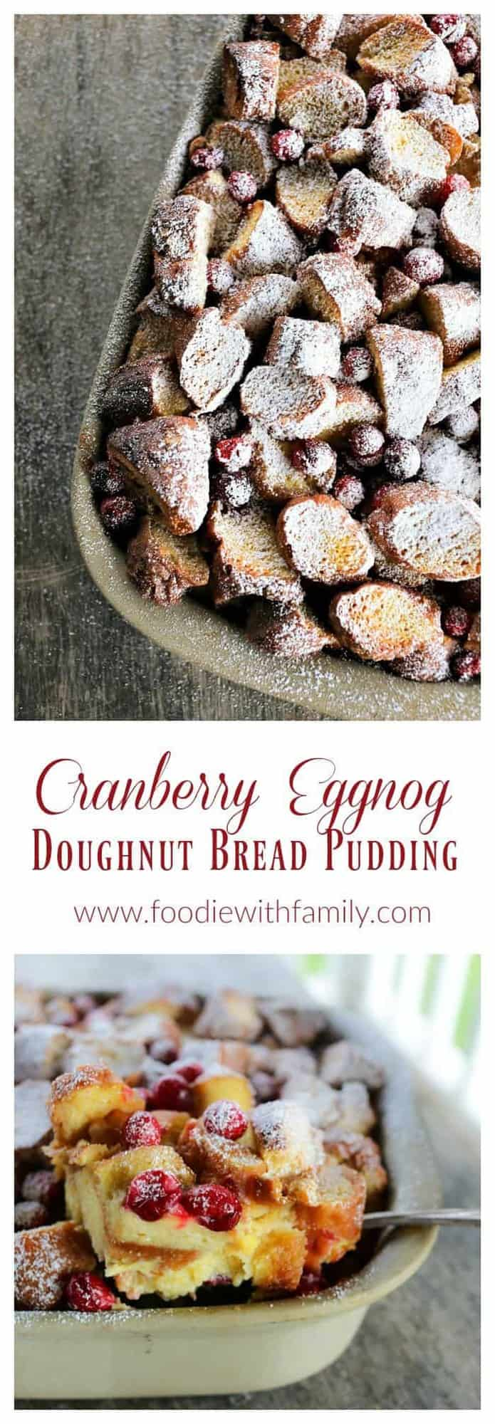 Rich, souffle-like, nutmeg flecked Cranberry Eggnog Doughnut Bread Pudding is the ultimate cold weather dessert.
