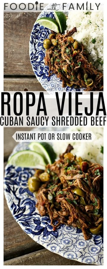 Ropa Vieja: Thin shreds of flank steak braised in a rich tomato vegetable sauce with olives &capers. Prepare in an Instant Pot OR Slow-Cooker.