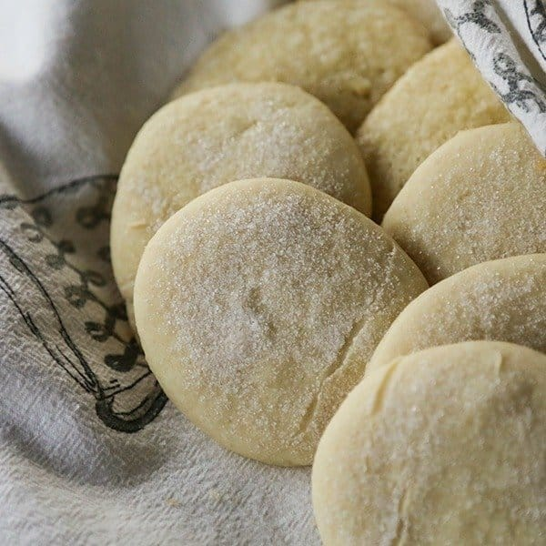 Stokoe Farms Legendary Sugar Cookies, pale, soft sugar cookies, granulated sugar topping, black and white tea towel