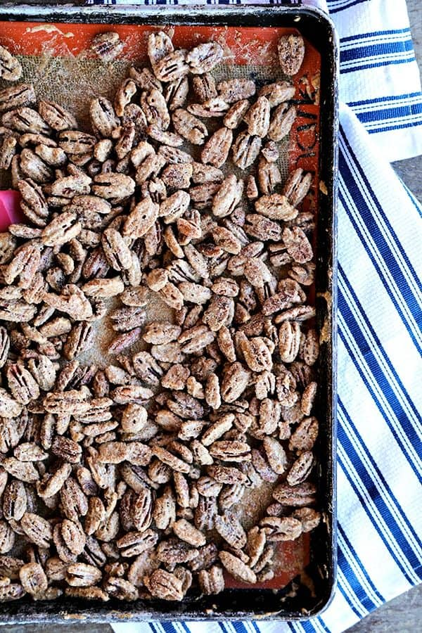 Candied Maple Pecans: Whole pecans candied with real maple syrup, fragrant cinnamon, and just the barest hint of spice and salt. Great for snacking, salads, and top of yogurt, ice cream, or oatmeal.