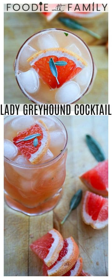 The Lady Greyhound Cocktail; Lady Grey infused vodka, fresh grapefruit juice, sage, and a little honey combine for this bright, sunny, and ultra refreshing twist on a classic greyhound.