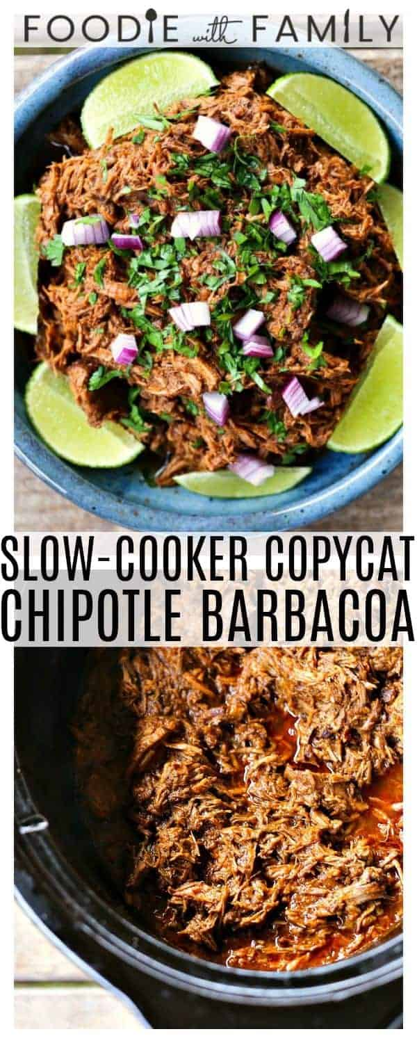 Use your crockpot to make Slow-Cooker Copycat Chipotle Barbacoa {Mexican Barbecue Shredded Beef} Garlicky, tender, shredded beef braised low and slow in a spicy, smoky, flavourful barbecue sauce for flavourful, versatile meals!