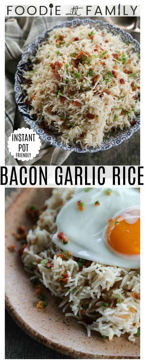 Bacon Garlic Rice; tender grains of basmati rice bursting with bacon, fried garlic, and fresh green onion. It's a flavour explosion that is great with grilled chicken, fish, beef, or pork, obviously, but it is also amazing as a base for beef stew, as a grain element on a green salad, or nibbled straight from the fridge at midnight.And if you should happen to drop a fried egg onto a bowl of it, you will be thrilled with yourself. Talk about a breakfast!